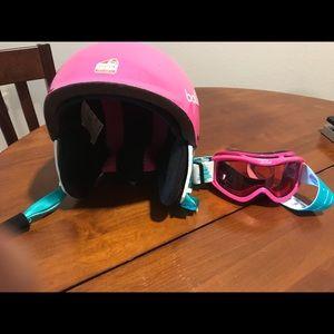 Bolle girls ski helmet and glasses